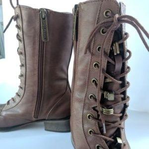 Women's 9 Brown Boots Lace up Combat Shoes